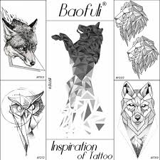 Baofuli Animal Geometry Diamond Temporary Male Tattoo King Wolf Body Art Crystal Tatoos Arms Legs Sleeve Fake Tattoo Stickers