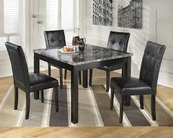 Black Marble Top Dining Table Set