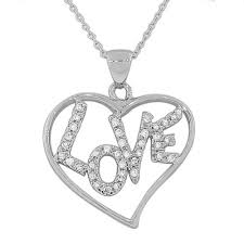 details about sterling silver white gold tone love heart crystals cz large pendant necklace
