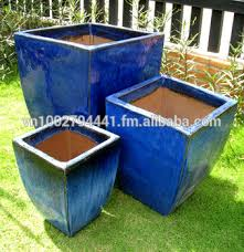 green glazed planters large blue glazed pots outdoor garden ceramic pot vietnam pottery