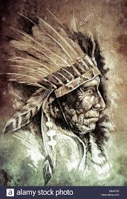 Sketch Of Tattoo Art Native American Indian Head Chief Vintage