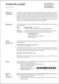 Summer Internship Resume Resumes For Internships Airexpresscarrier Com
