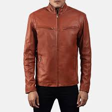mens ionic tan brown leather biker jacket 5