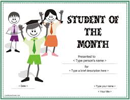 Student Of The Month Certificate Templates Education Certificates Student Of The Month Award