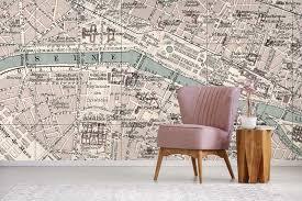 vintage paris map wall mural feathr