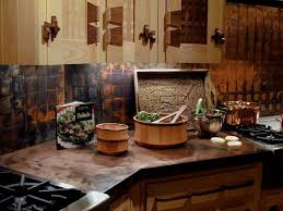 copper countertops with patina finish in rustic kitchen design