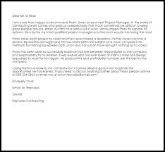 Letter Of Recommendation For Project Manager Project Manager Recommendation Letter Example Letter Samples