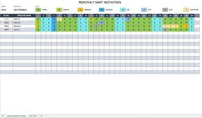 Monthly Work Schedule Template Excel Free Employee And Shift