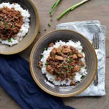 korean ground turkey rice bowls the
