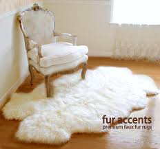 Faux Bearskin Rug Fur Accents Little Prince Off White Area Carpet Throw Rug