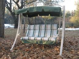 Lovely 3 Person Patio Swing With Canopy Green Fabric Canopy Metal