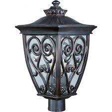 mediterranean outdoor lighting. Maxim Newbury VX Three Light 21-Inch Outdoor Post - Oriental Bronze 40120CDOB Mediterranean Lighting H