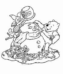 Poeh En Knorretje Maken Een Sneeuwpop Kleurplaat Gratis