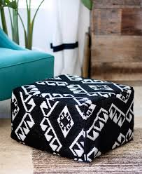 Tribal IKEA Hack: First up, this tutorial will take you through how to turn  a basic IKEA stool into this awesome square pouf. We love the geometric  black ...
