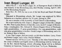 Obituary for Ivan Boyd Lunger, 1919-2001 (Aged 81) - Newspapers.com
