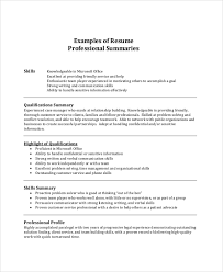 Professional Summary Sample For Resume Musiccityspiritsandcocktail Com