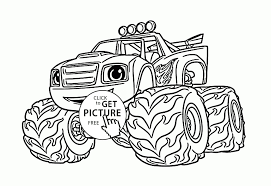 Fresh Blaze Monster Truck Cartoon Coloring Page For Kids