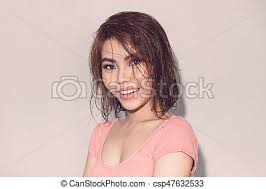 fresh summer look beautiful young asian model with wet hair golden makeup tanned skin