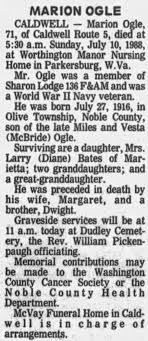Obituary for MARION OGLE, 1916-1988 (Aged 71) - Newspapers.com