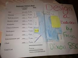 Exemplar Design a Bedroom projects   Maths Tallis Maths Tallis   Weebly Freya I liked the layout of your bedroom  You have shown good effort but you have forgotten to show the calculation for area of walls and floor