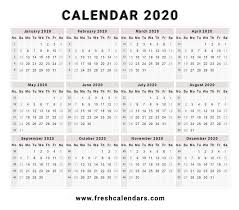 Calendar 2020 Template Free 2020 Calendar