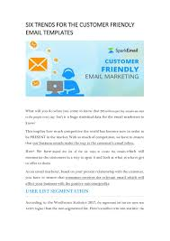Six Trends For The Customer Friendly Email Template