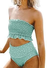 Amazon.com: Aleumdr Womens 2 Pieces <b>Bandeau Bikini</b> Swimsuits ...