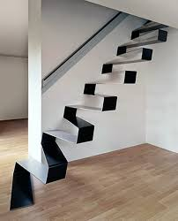 amazing modern staircase ideas for small spaces with unique black and white metal staircase design in attractive small space