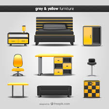 grey and yellow furniture. Grey And Yellow Furniture Pack Free Vector W