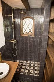 charcoal tile in tiny house bathroom