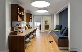 triple seated home office area. Diy Kids Desk Ideas Home Office Contemporary With Dark Gray Seat Cushion Round Ceiling Light Triple Seated Area