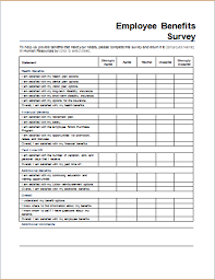 Word Forms Templates Employee Benefits Survey Form Template For Word Document Hub