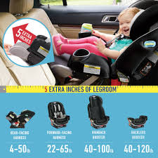 5 Extra Inches of Legroom Graco 4ever Extend2fit 4 In 1 Convertible Car Seat |