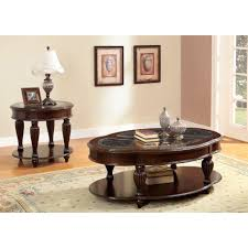 furniture of america zerathe dark cherry 2 piece coffee end table set coffee and end table