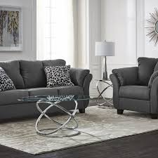 collier sofa and chair set dark grey