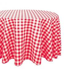 linentablecloth 120 in round polyester tablecloth red and white checd