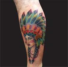 Colorful 3D Indian Native Girl Face Tattoo Design For Leg Red.