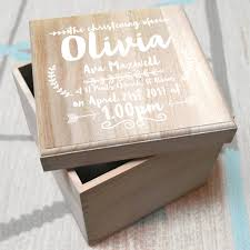 personalised christening wooden keepsake box from letterfest