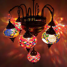 awesome unique turkish lamp ottoman style glass mosaic chandelier 7 bulb