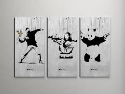 categories banksy canvas banksy metal prints  on panda canvas wall art with banksy flower thrower mona lisa panda collage triptych canvas wall art