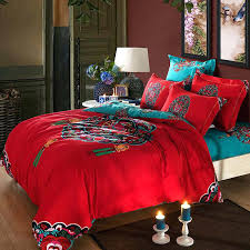 Red Turquoise Oriental Chinese Traditional Pattern Bedding Set ... & Red Turquoise Oriental Chinese Traditional Pattern Bedding Set Queen King  Size Bed Duvet Quilt Covers Egyptian Adamdwight.com