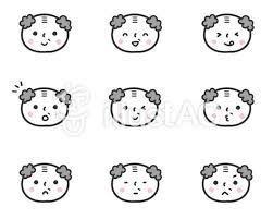 かわいい人物おじいちゃん顔表情セットイラスト No 1293280無料