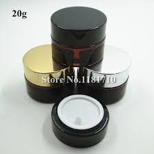 100pcs lot whole 20g amber glass jar with gold silver black lid