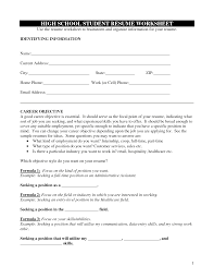 Objective For Resume High School Student Sample Highschool