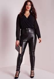 missguided plus size faux leather pants black