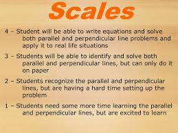 scales 4 student will be able to write equations and solve both parallel and perpendicular