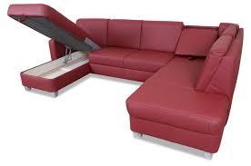 Wohnlandschaft Leder Rot Sofa Couches Wohnlandschaften