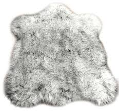 black tip russian wolf faux fur throw area rug
