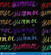<b>Neon</b> Multicolored <b>Summer</b> Text Handwritten On Black Background ...