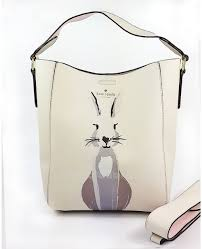 Beige Kate Spade New York Cameron Street Rabbit Pattern Print Bucket